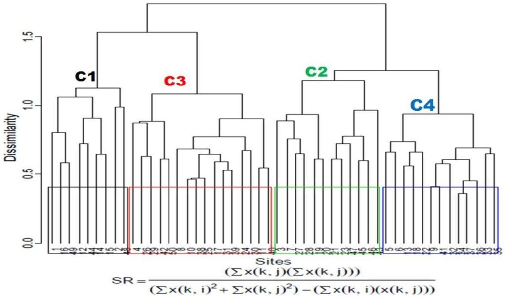 Agglomerative Hierarchical Cluster Analysis using similarity ratio (SR).