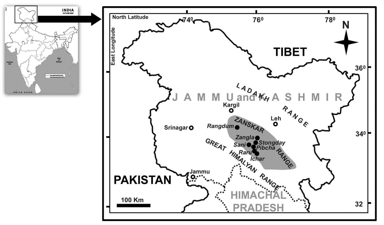 Location map of study sites in Zanskar valley.