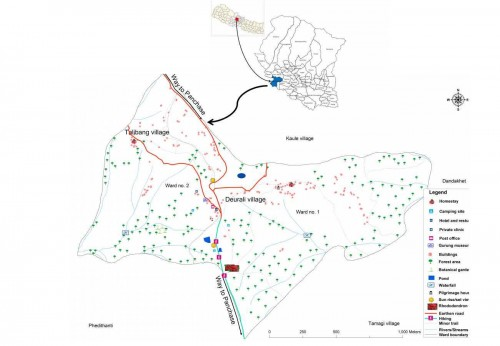 Map of the research area: <strong></strong>Bhadaure Tamagi Village.