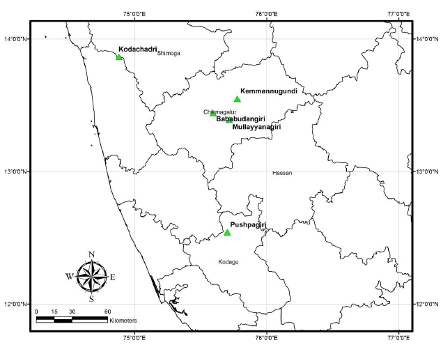 Map showing locations of study sites in three districts of Karnataka.