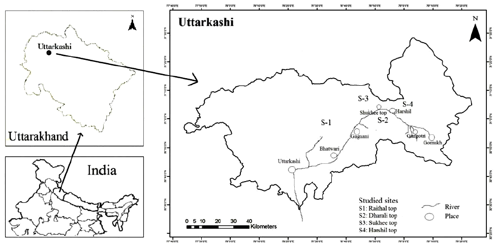 Map of the study area (District Uttarkashi, Uttarakhand) with locations of the ridge tops sites being studied marked as: S1-Raithal top; S2-Dharali top; S3-Sukhee top; S4-Harshil top.