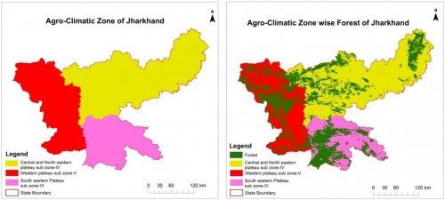 Agro-climatic Zone Map of Jharkhand & Agro-climatic Zone wise Forest Cover Map of Jharkhand.