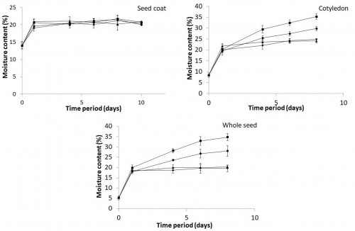 Changes in moisture content of seed coat, cotyledon and whole seed in untreated and treated seeds of <em>Schleichera oleosa </em>(Lour.) Merr.  [-♦-, Untreated; -●-, Scarification; -▲-, GA treatment; -■-, Scarification with GA treatment; Error bars represent ± standard error]