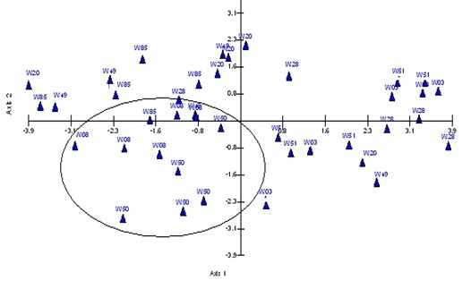 Two dimensional PCoA plot of relationships among Oryza rhizomatis accessions based on thirty nine morphological parameters. Ovale indicate the well- defined group.