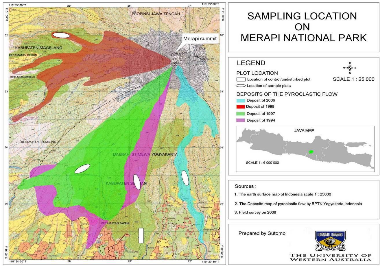 "Map of mount Merapi National Park""s eruption deposit sites (Circular symbols refer to the position of sampling sites in each deposit. The rectangle refers to the site position of an undisturbed forest in Kaliurang)."